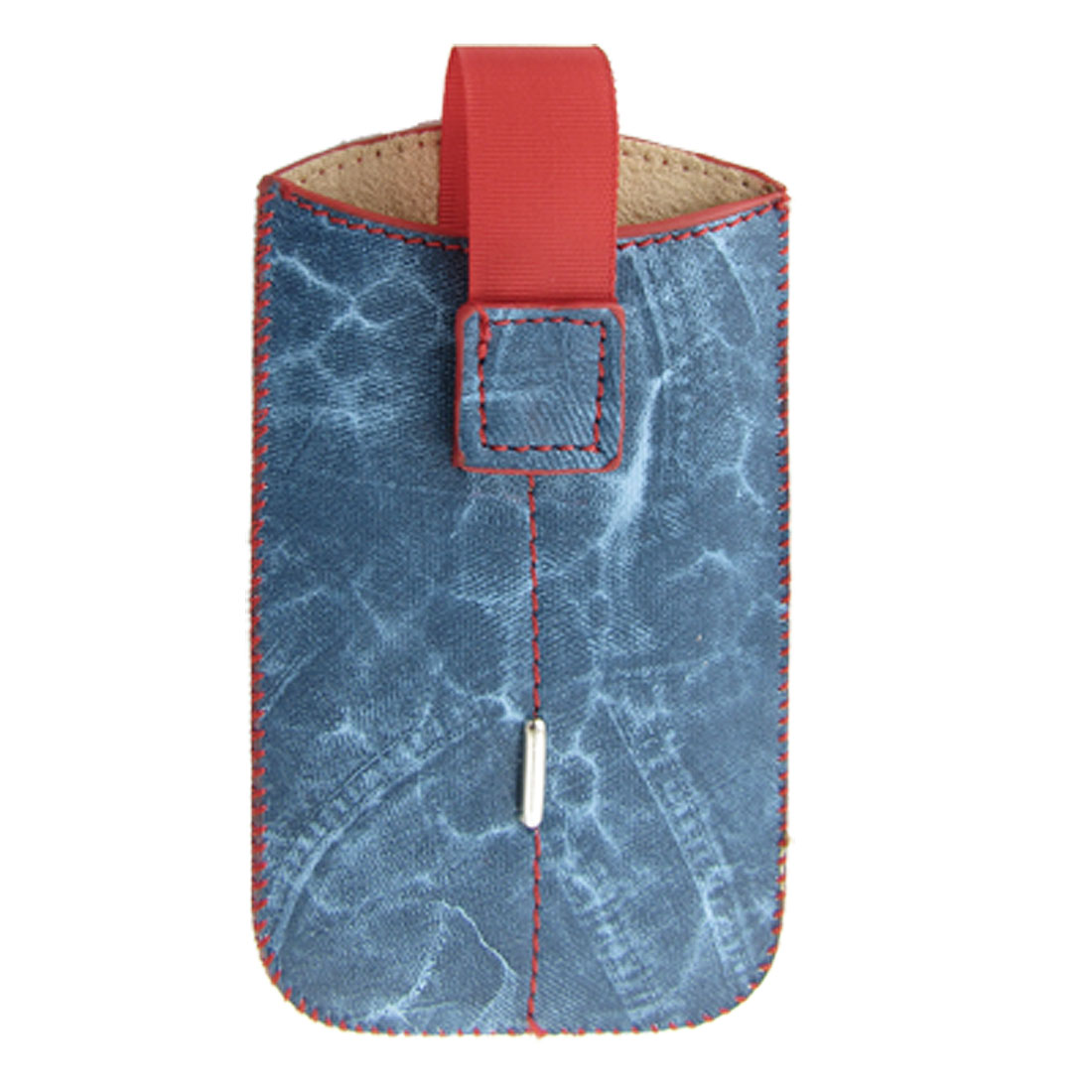 Red Line Cowboy Style Faux Leather Blue Pouch for iPhone 4 4G