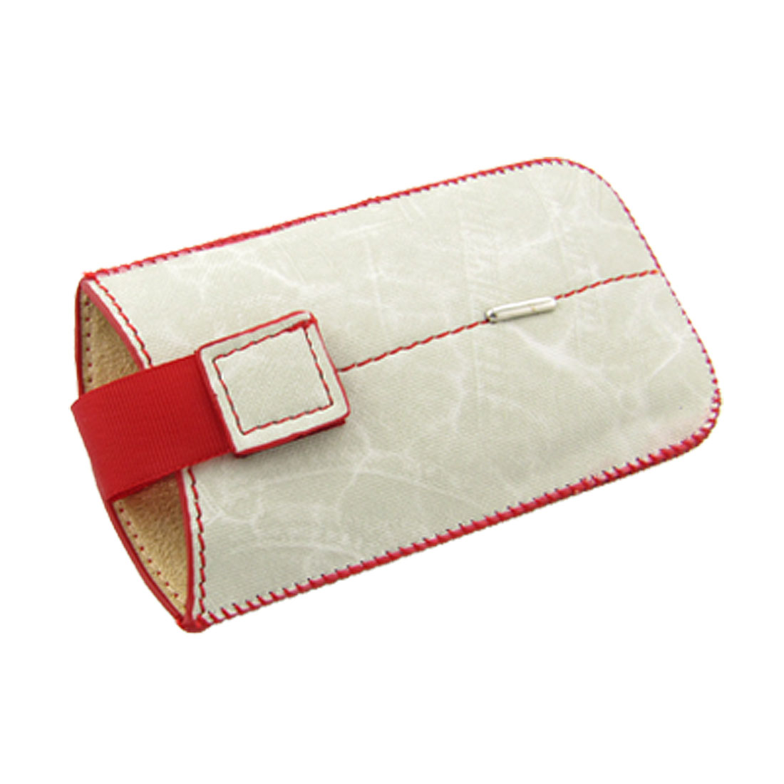 Red Rim Cowboy Style Off White Faux Leather Pouch for iPhone 4 4G