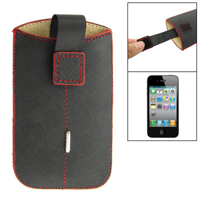 Decorative Red Line Faux Leather Black Holder for iPhone 4 4G