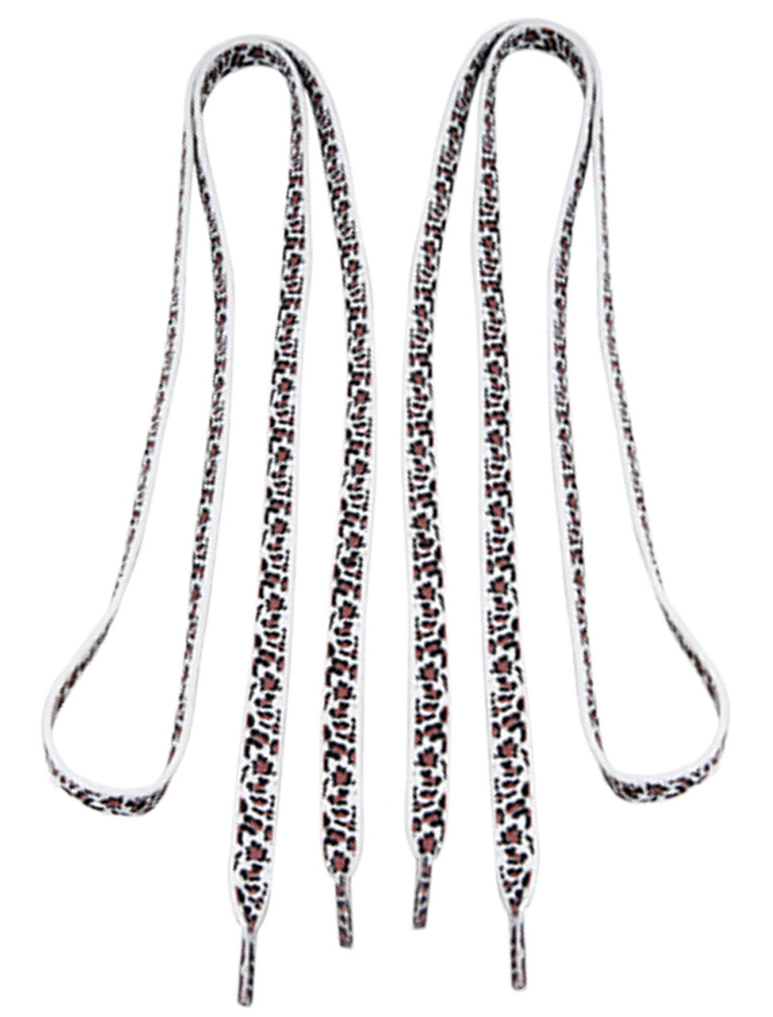 Replaceable Pair White Leopard Print Bootlace Shoelaces