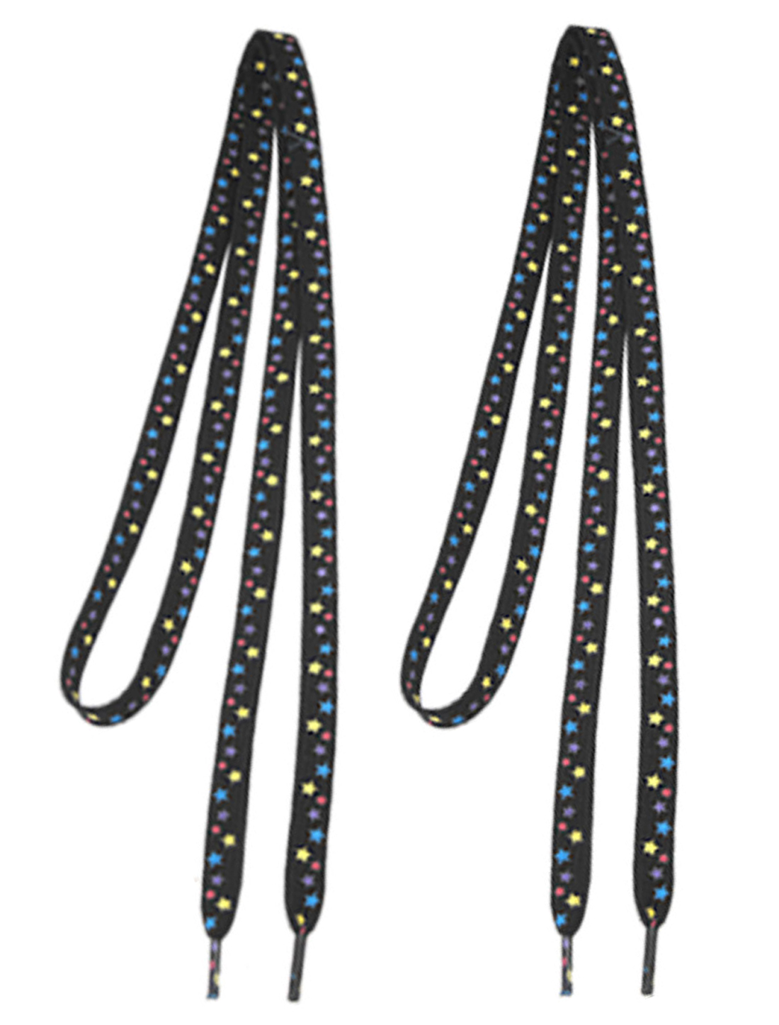 Black Pastel Stars Decor Sneaker Flat String Shoelaces Pair