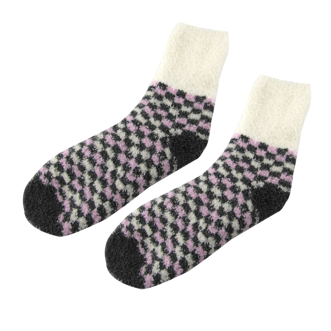 Ivory Gray Pink Triple Contrast Color Thick Warm Bed Socks Pair