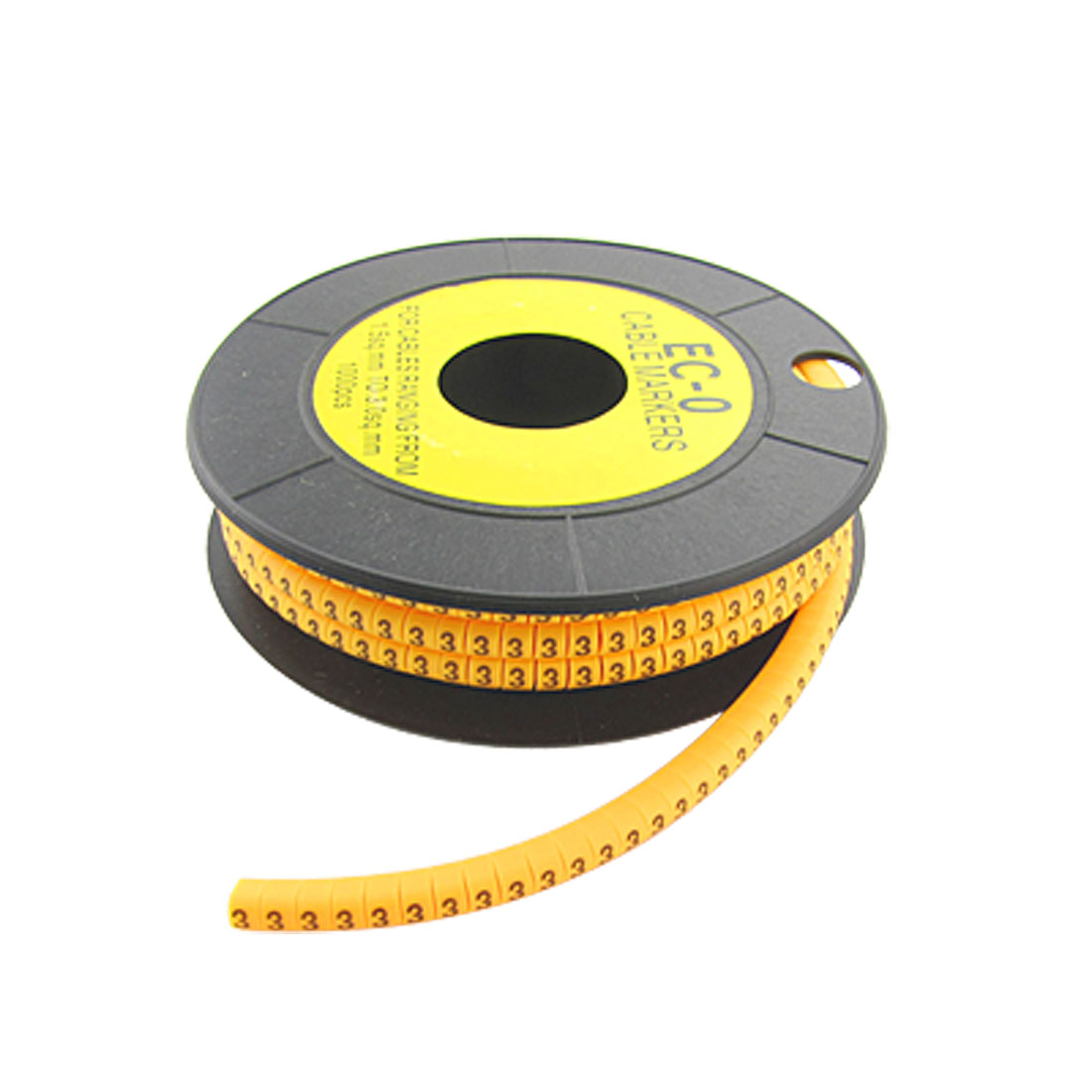 "EC-O Type Yellow Power Wire Marker No.""3"" 1000 Pcs"