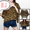 Ladies Leopard Pattern Round Neck Batwing Sleeves Blouse Top S