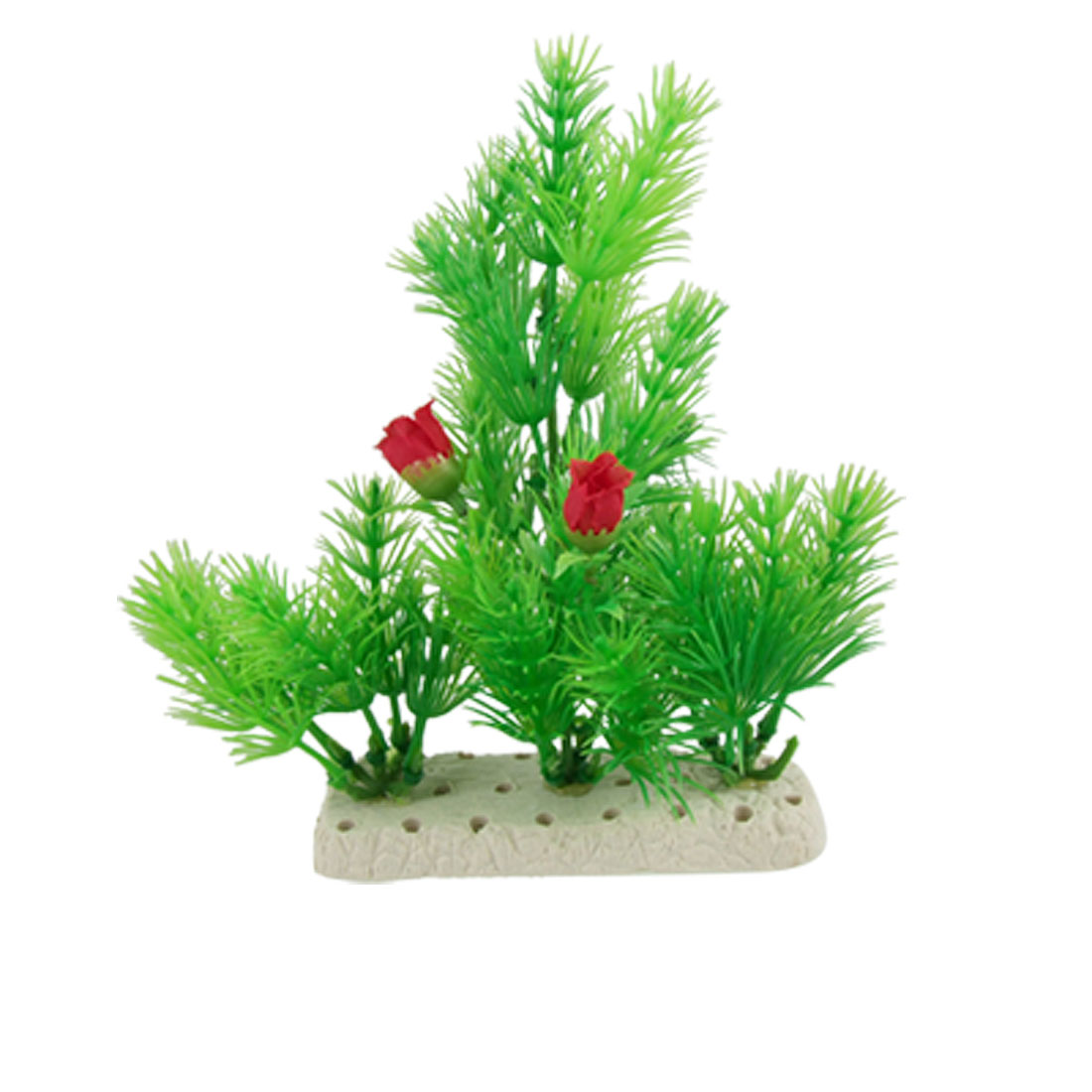 Artificial Green Plastic Plant w Flowers for Aquarium Fish Tank