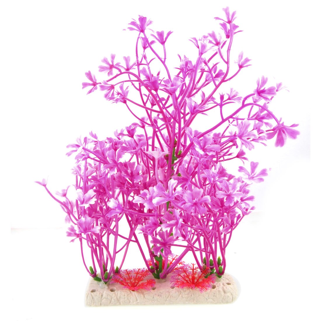 Purple White Artificial Plastic Plant Decor Ornament for Aquarium
