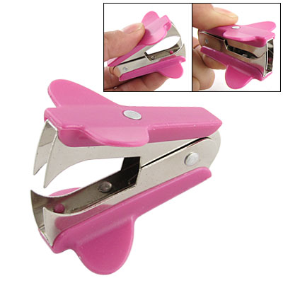 Mini Portable Jaw Style Hot Pink Staple Remover for Home Office School