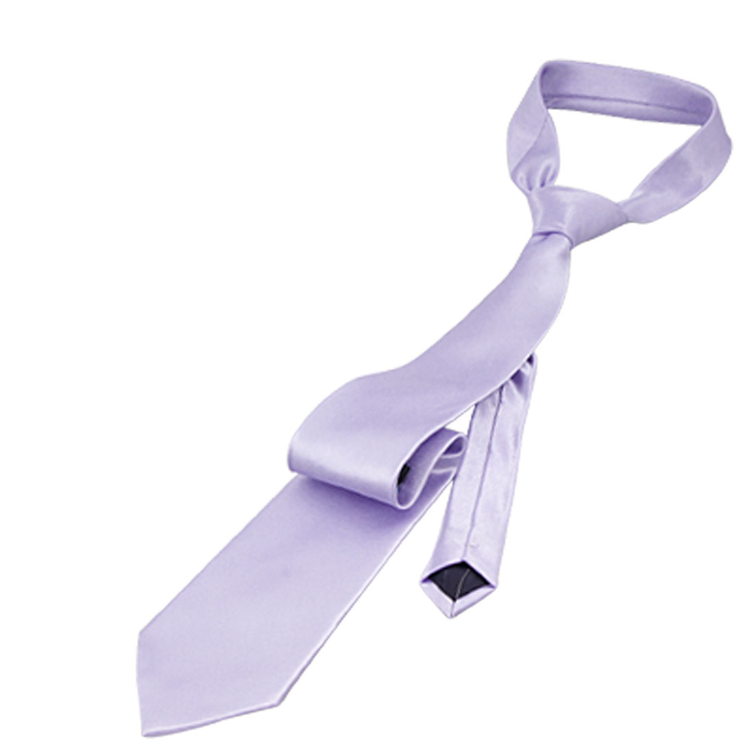 Men Smooth Polyster 151cm Length Light Purple Necktie Neckwear