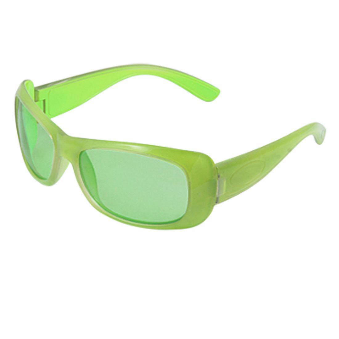 Child UV Protection Green Plastic Full-Rim Sunglasses