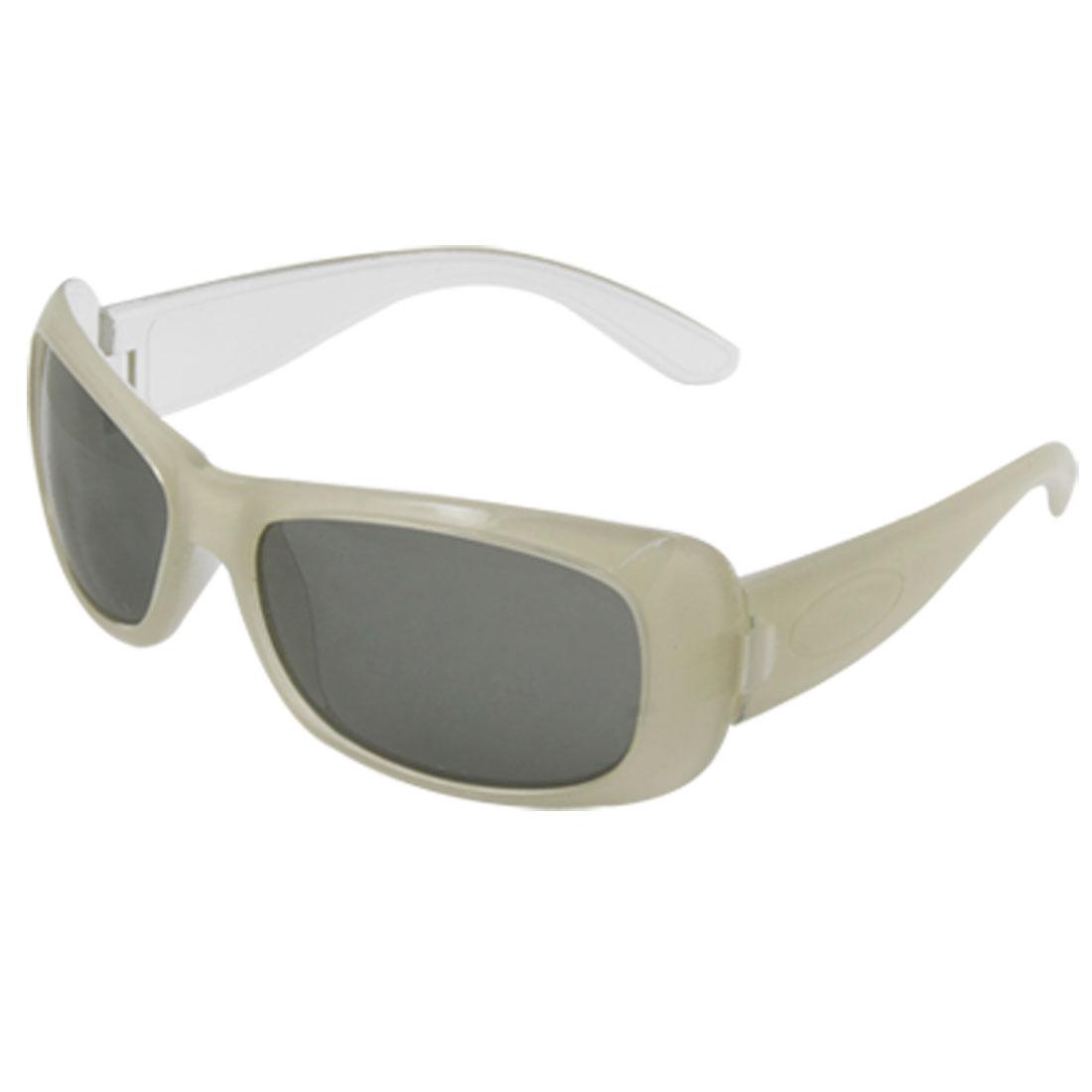 Gray White Plastic Arms Dark Lens Child Sports Sunglasses
