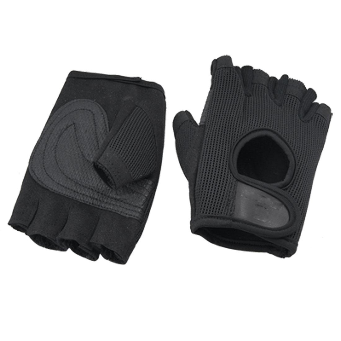 Pair Black Breathable Mountain Bike Fingerless Gloves
