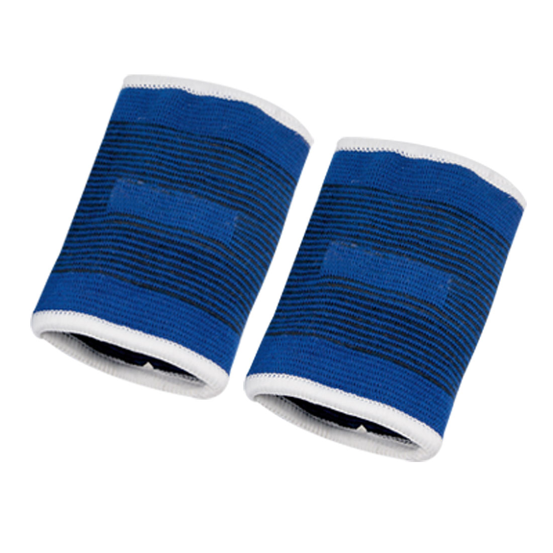 Athletic Tennis Elastic Fabric Wrist Sweatbands Band Brace Support Blue 2 Pcs