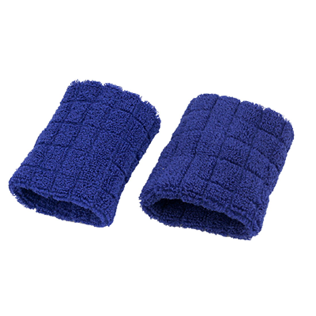 1 Pair Elastic Blue Plaid Pattern Terry Wrist Band Support