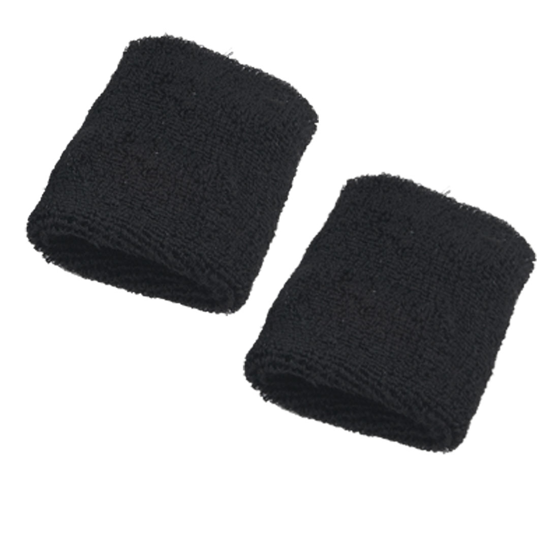 2 Pcs Black Elastic Fabric Sports Protector Wrist Band Support