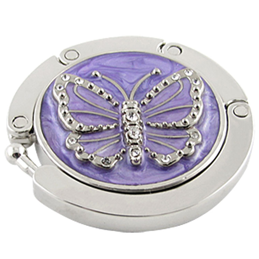 Purple Butterfly Purse Handbag Hook Table Folding Hanger