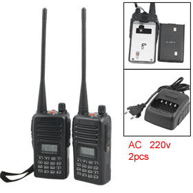 2pcs LCD Display 199 Channels Black AC 220V FM Transceiver Walkie Talkie