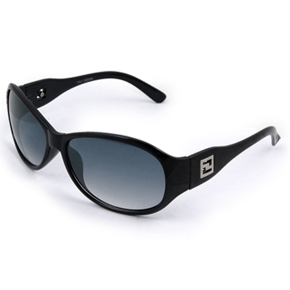 Oval Lens Plastic Full Frame Arm Black Sunglasses for Ladies
