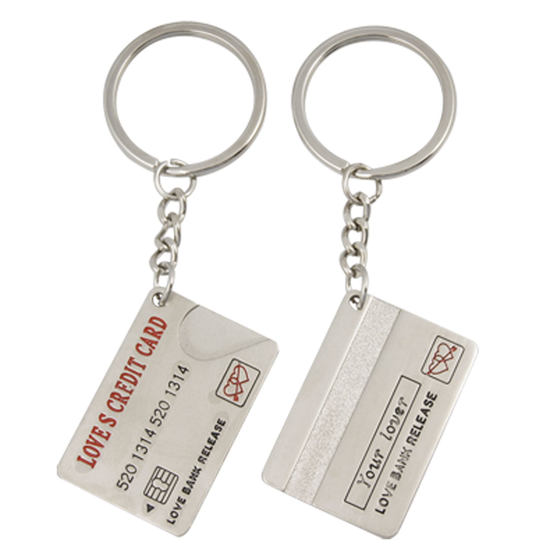 Lovers 2 PCS Credit Card Pendant Silver Tone Key Chain