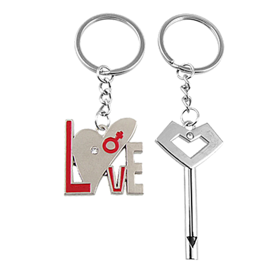 Pair of Silver Tone Metal Lovers Key Ring Keyring