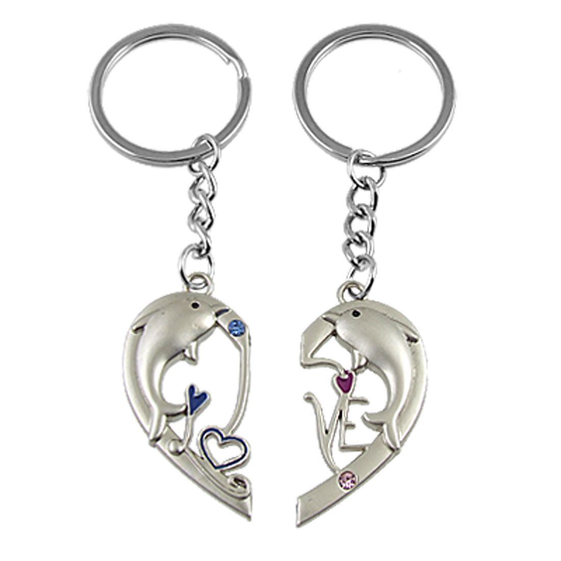 Heart Shaped Dolphin Accent Couple Keyring Key Ring