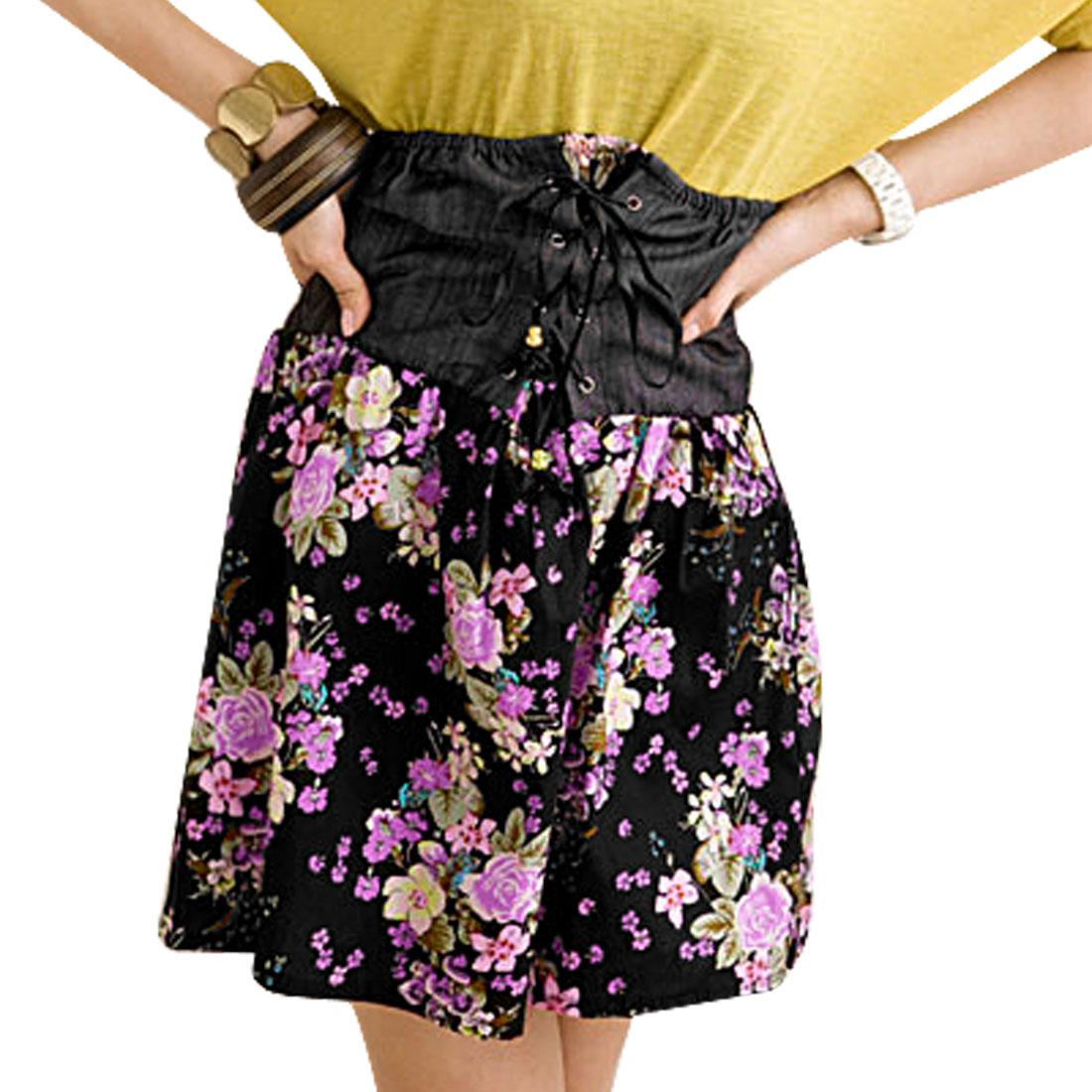 Ladies Flower Elastic Ruffled Cross Strap Front Skirt XS