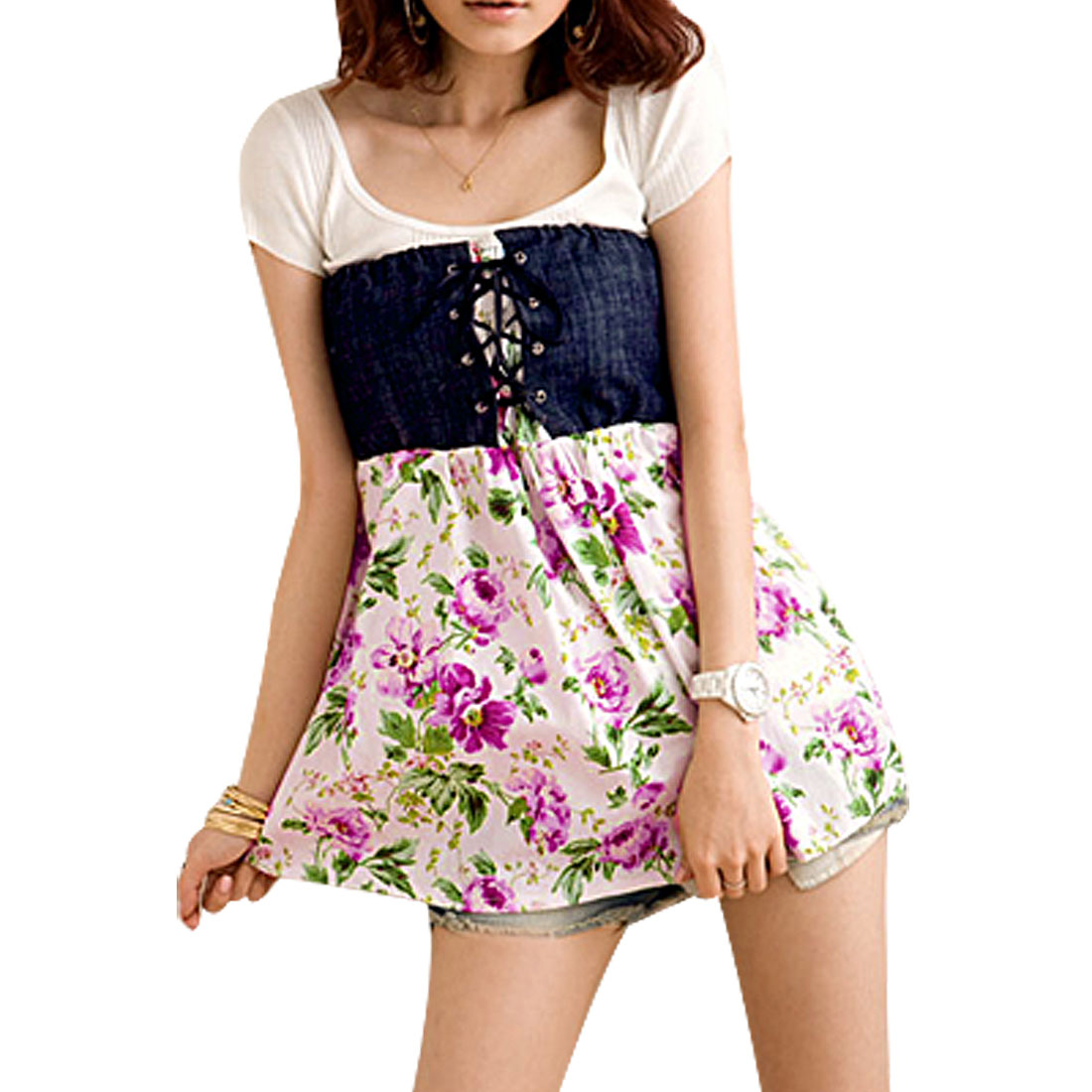Ladies Ruffled Sleeveless Flower Cross Strap Front Tube Top XS