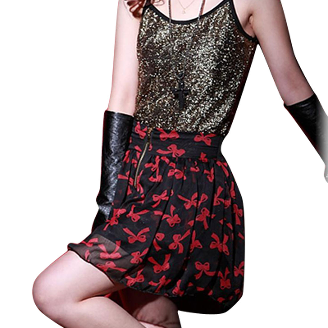 XS Red Bowtie Printed Black Chiffon Mini Flared Skirt for Lady