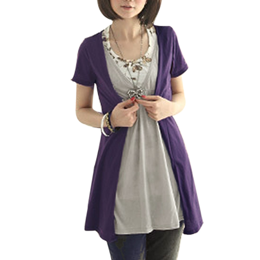 Ladies XS 2Pcs Style Short Sleeves Purple Gray Blouse w Tank Top