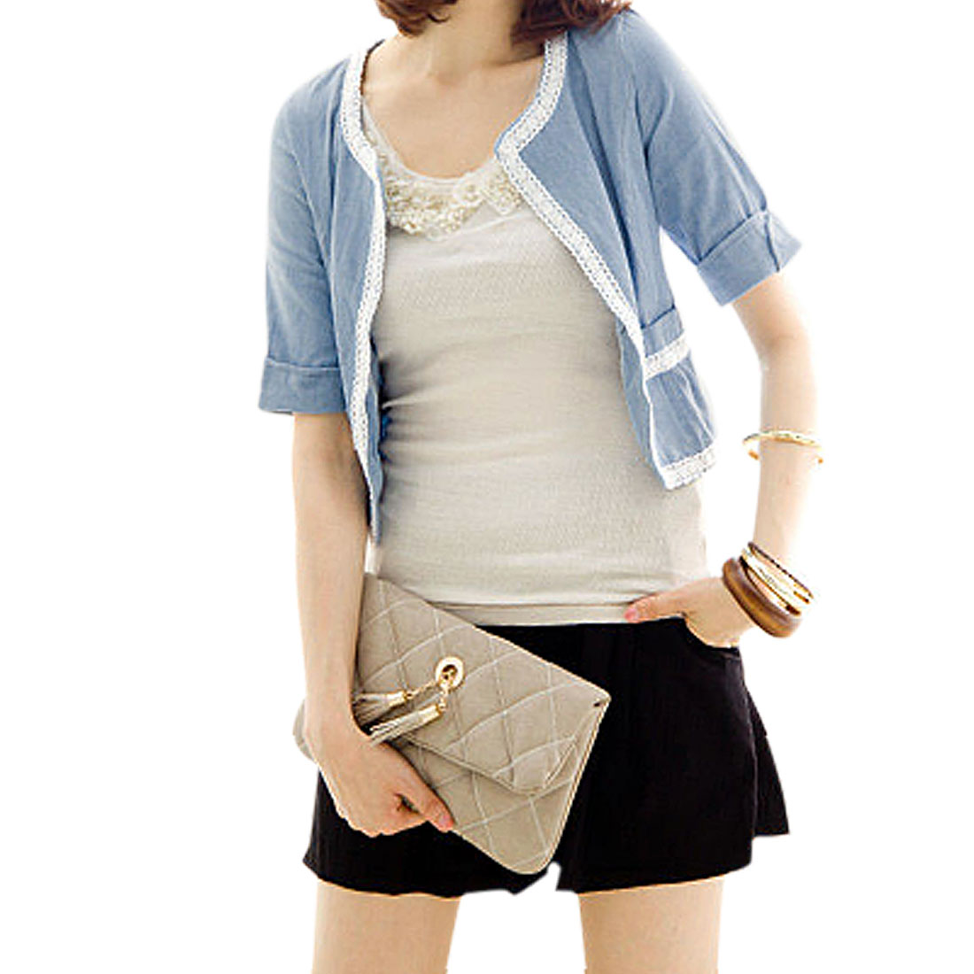 Ladies Blue Lace Trimmed Fake-Pocket Opening Front Short Blazer