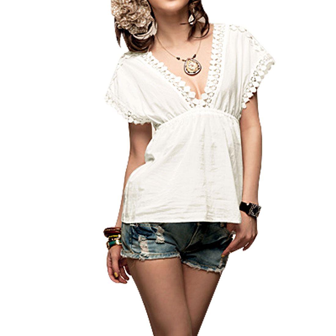 White Crochet Trim Elastic Cap Sleeve Ladies Low Cut V Neck Shirt XS