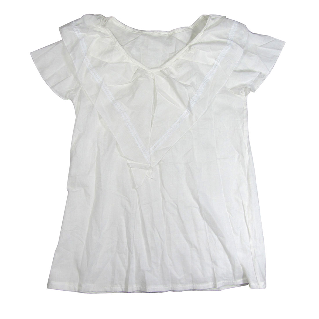Ladies Size XS White Cap Sleeve Blouse Ruffle Neck Top