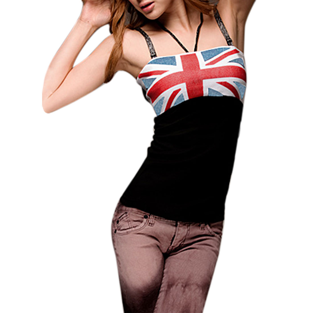 Lady UK Flag Design Elastic Shoulder Strap Tank Top XS