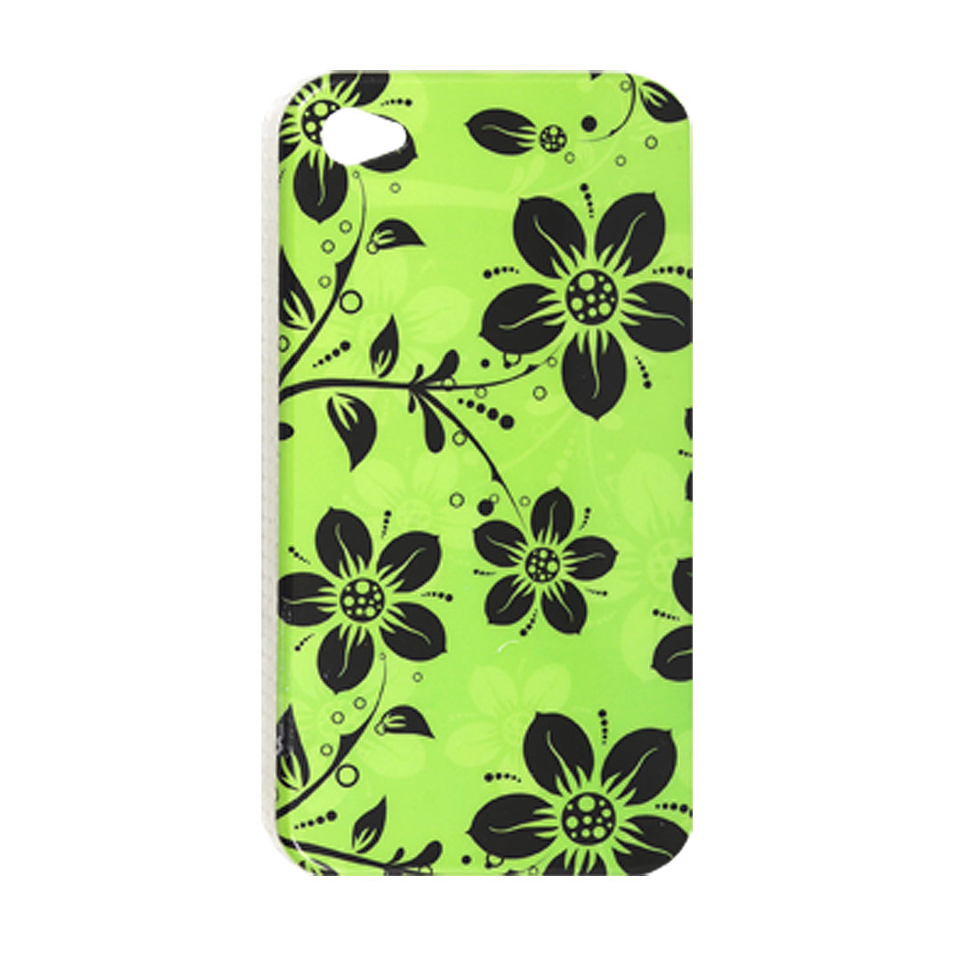 Antislip Side IMD Floral Print Black Green Back Case for iPhone 4 4G