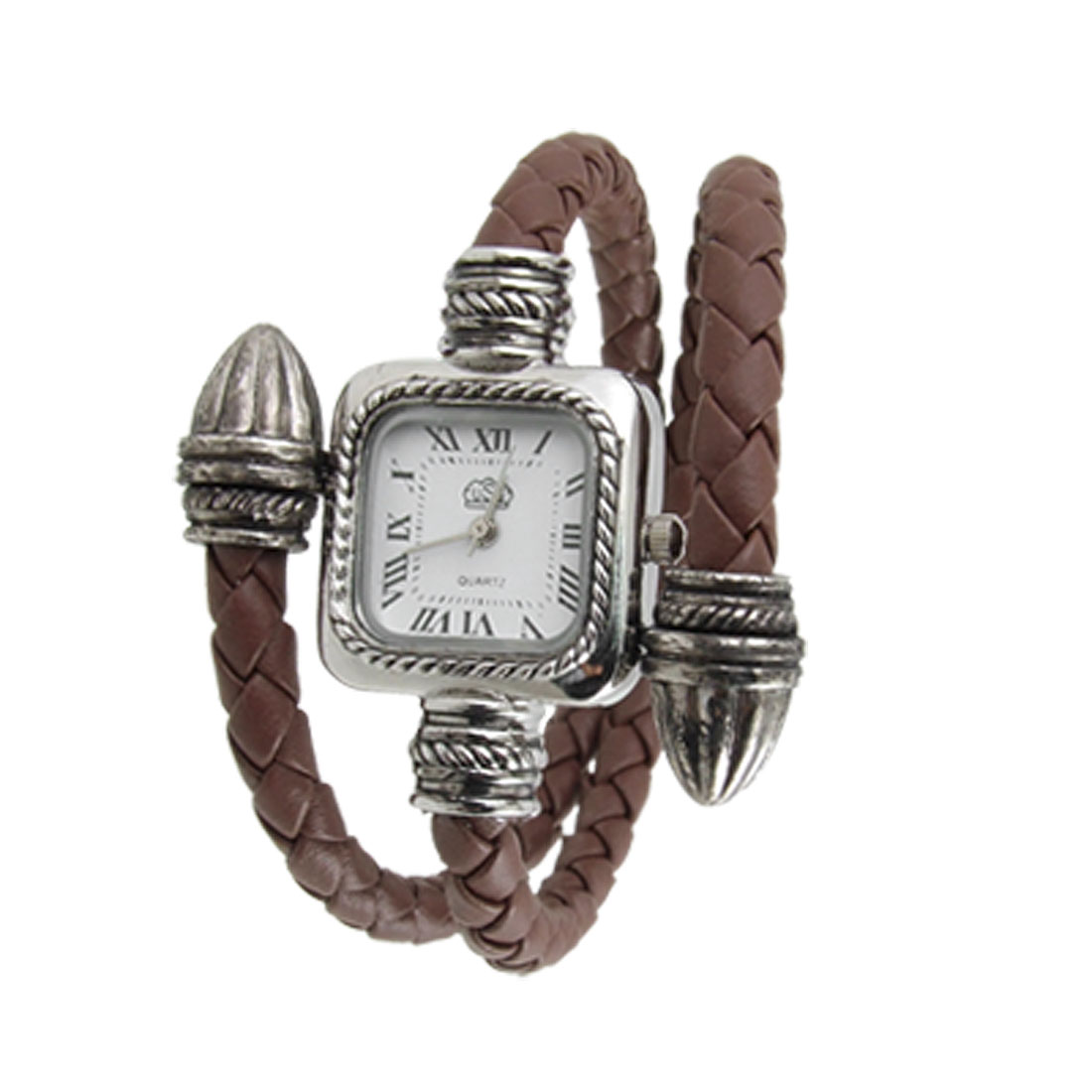 Roman Numeral Dial Braided Watchband Quartz Watch Coffee