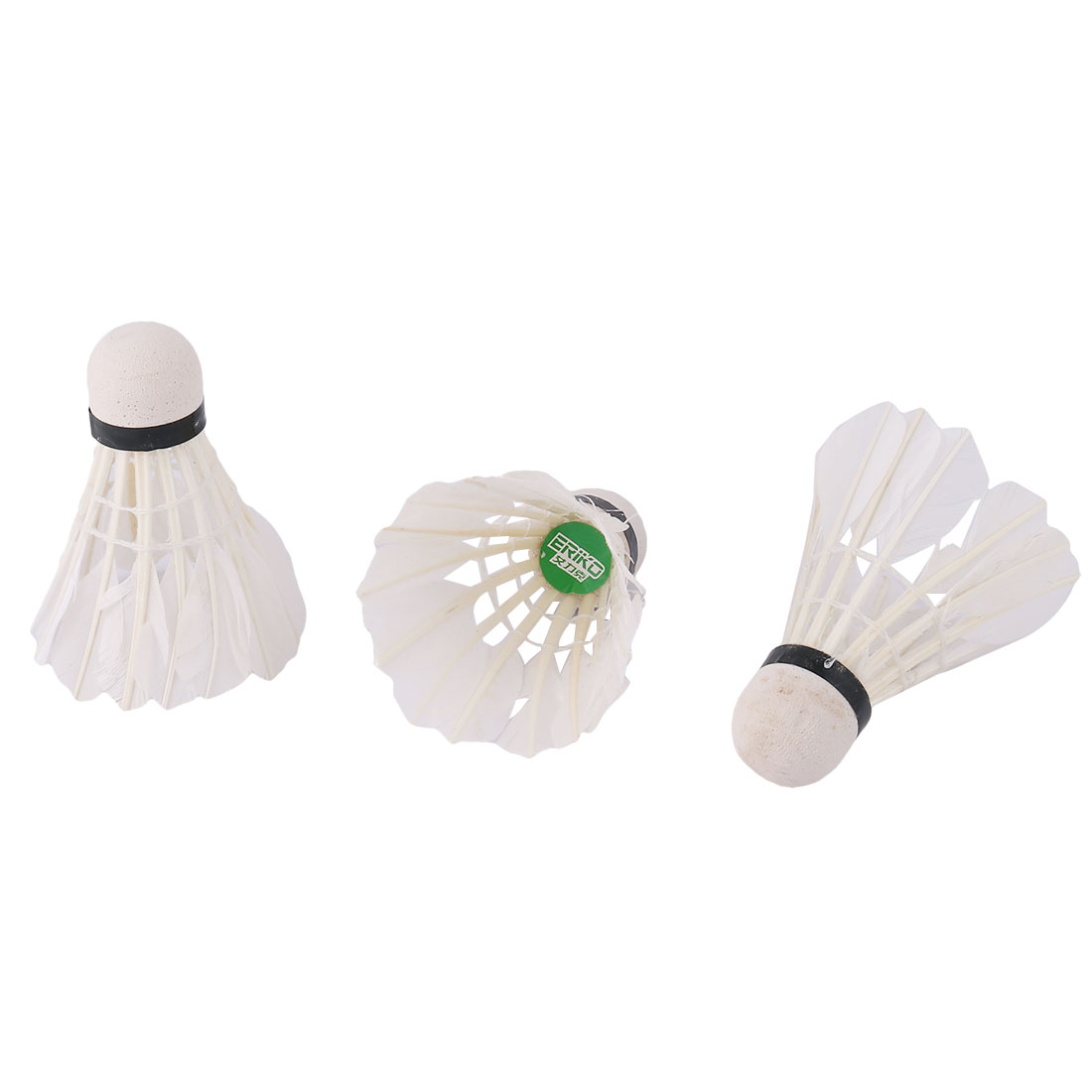 Sports Cone Shape Goose Feather Badminton Shuttlecock Carboard White 3 Pcs