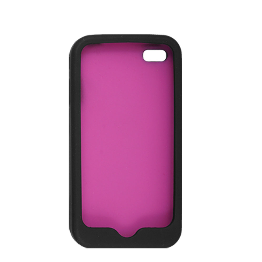 Fuchsia Black Soft Silicone Shell Case Cover for iPhone 4 4G