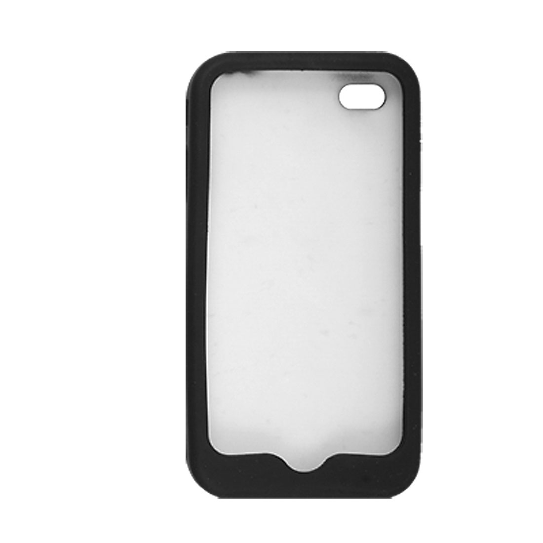 White Petals Patterns Black Silicone Case for iPhone 4 4G