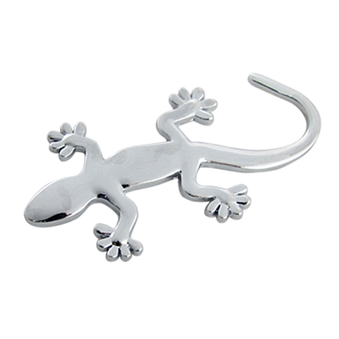 Silver Tone Metal Wall Gecko Shaped 3D Sticker Car Decor