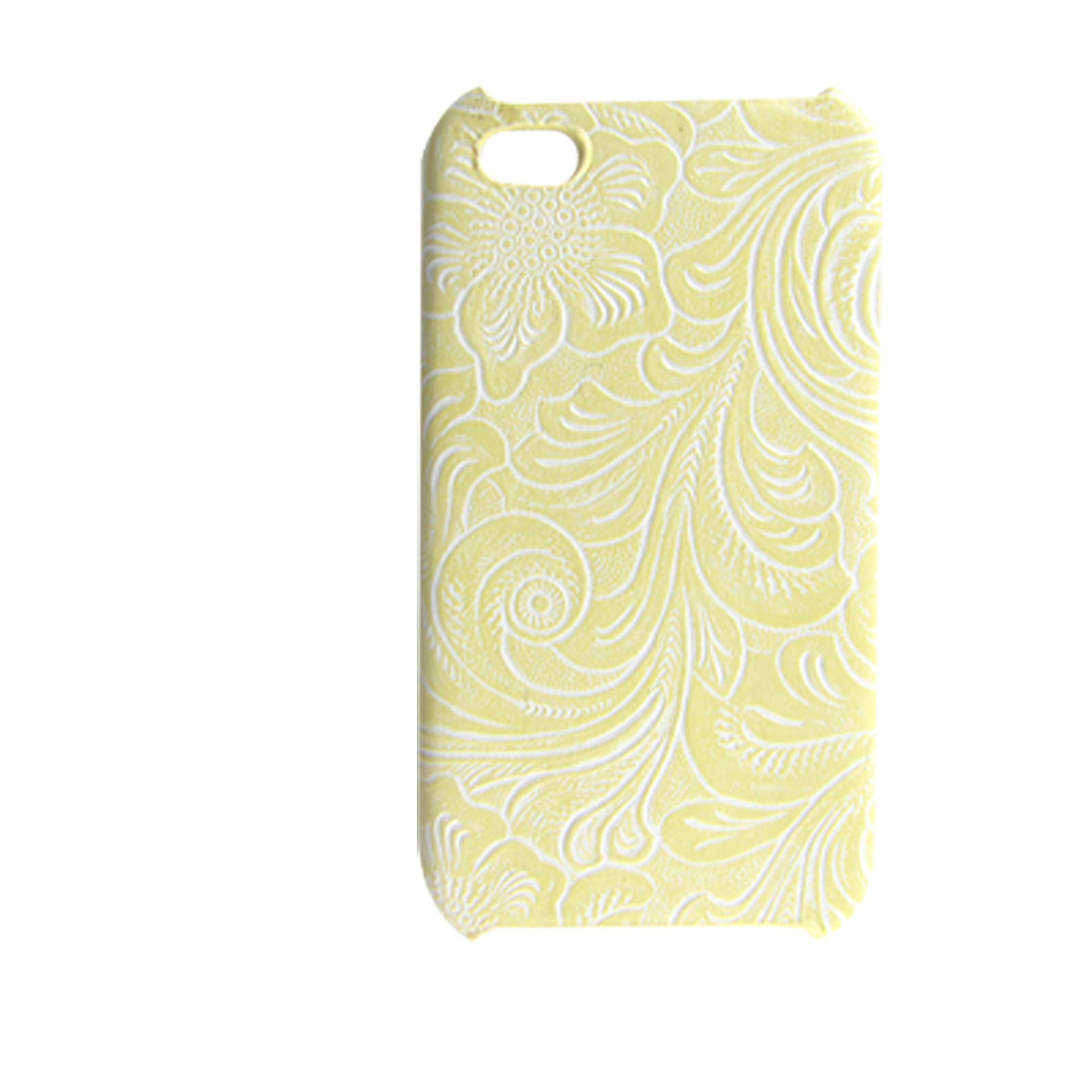 Light Yellow Faux Leather Coated Hard Protector for iPhone 4 4G