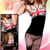 Lady UK Flag Design Elastic Shoulder Strap Tank Top XS