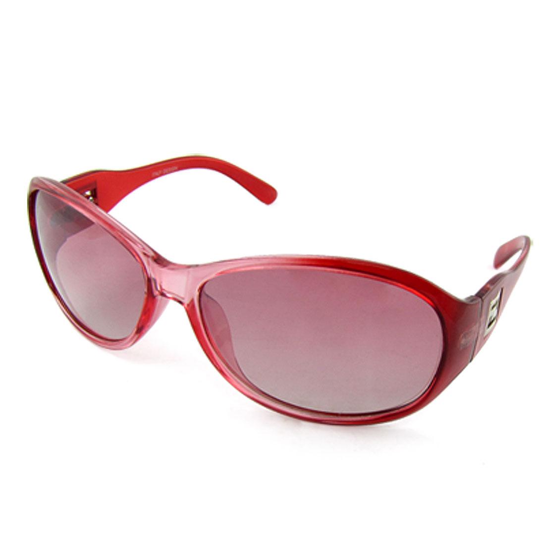 Lady Hard Plastic Clear Red Full Rim Frame Sunglasses