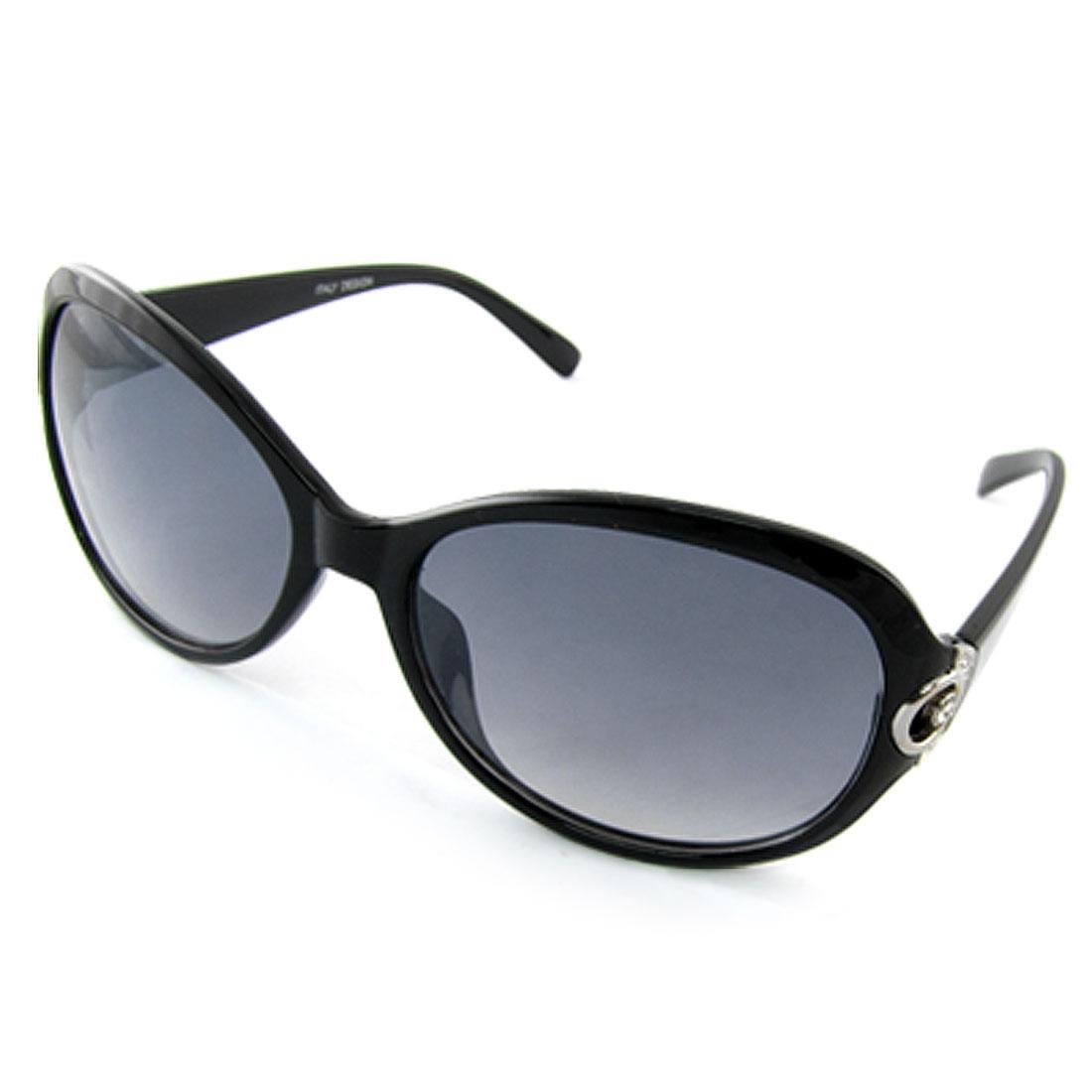 Lady Oversize Lens Plastic Black Full Frame Sunglasses