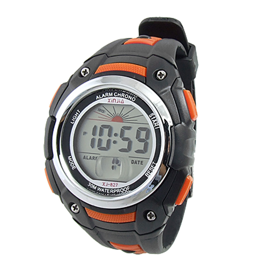 Black Orange Multifunctional Round Dial Sports Digital Wristwatch