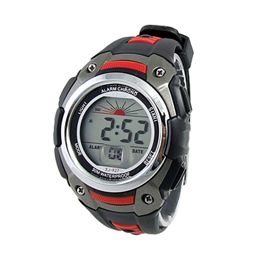 Silver Tone Round Dial Stopwatch Time Date Alarm Digital Sports Watch