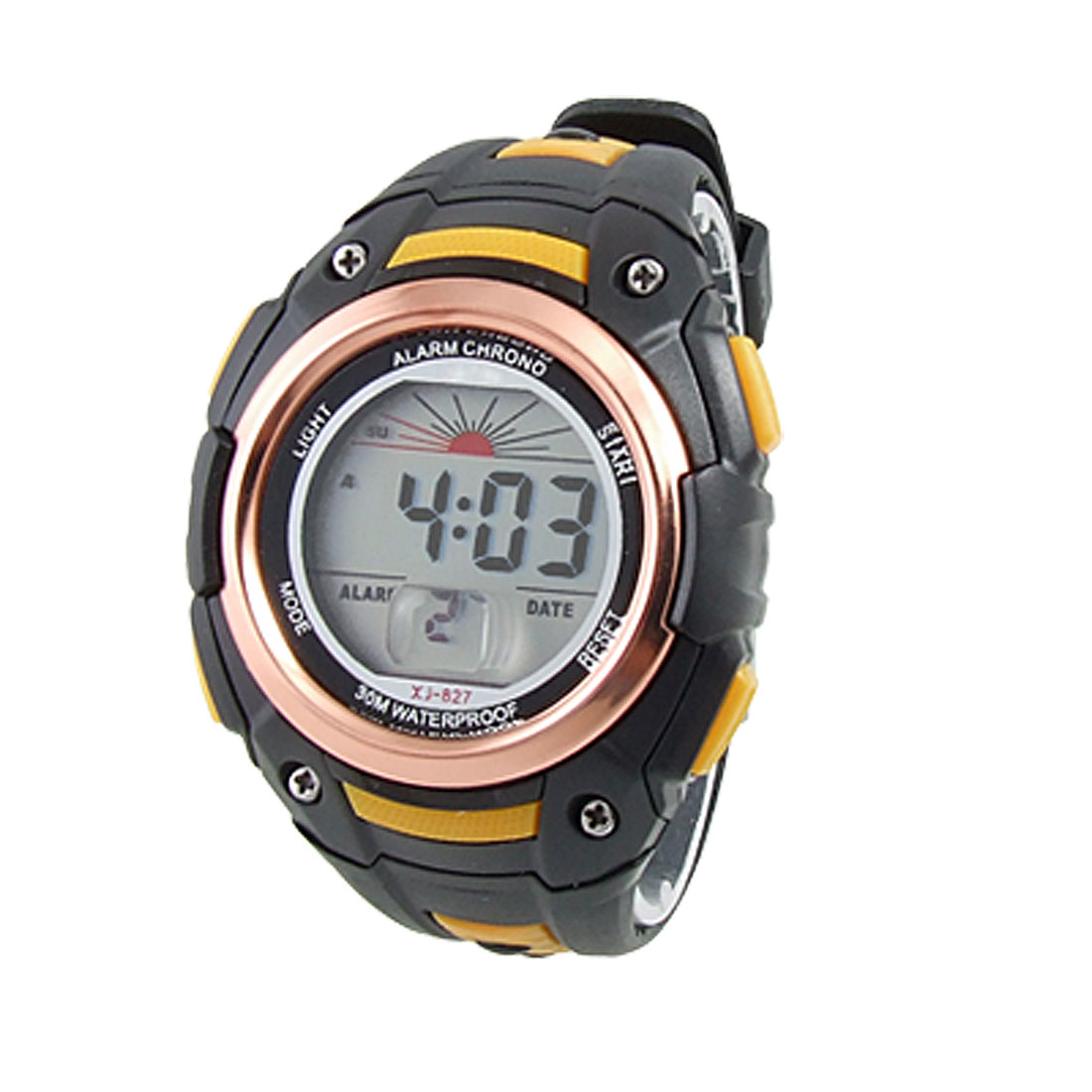 Raised Second Part Round Dial Copper Color Case Digital Sports Watch