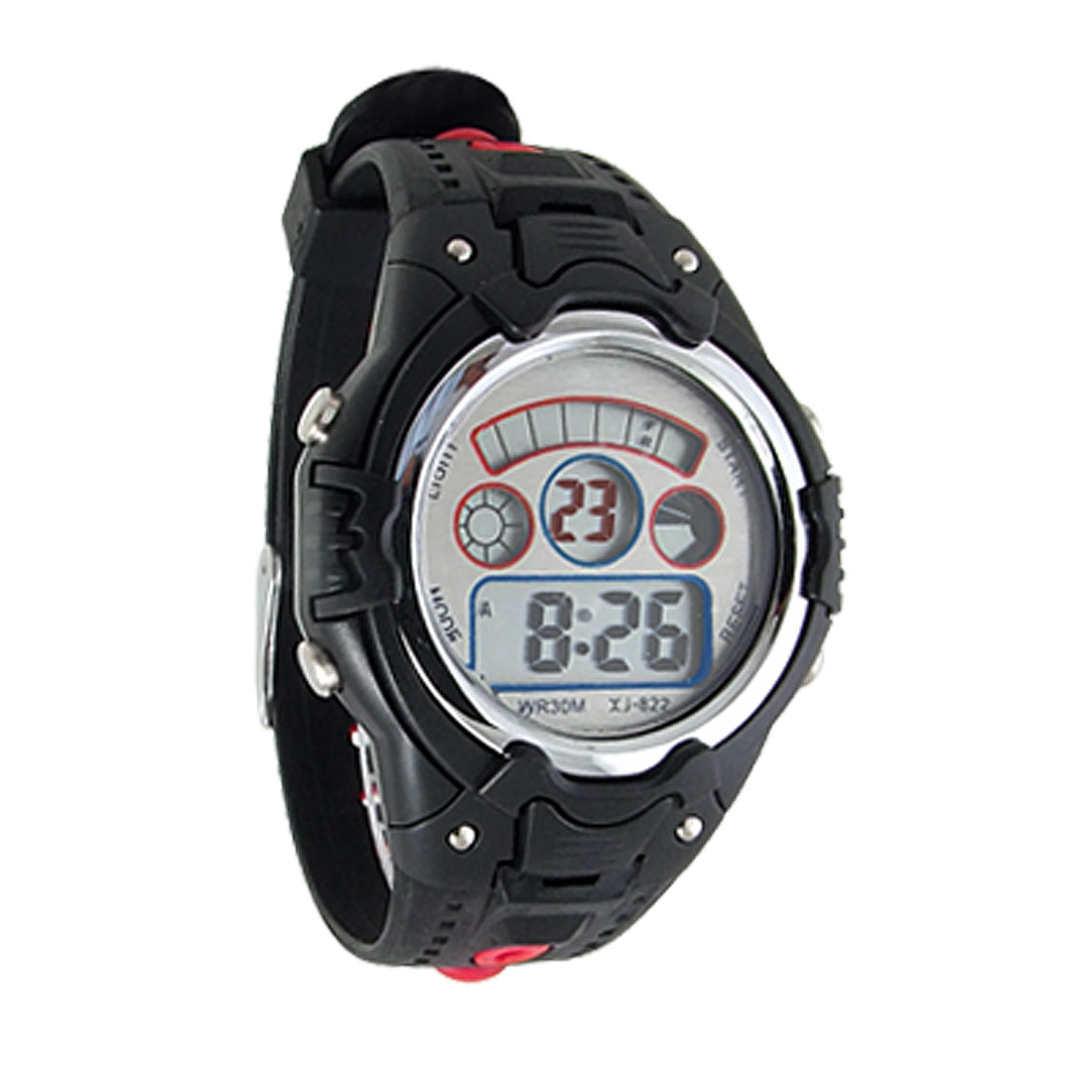 Black Red Soft Watchband Round Dial Alarm Sports Stopwatch Watch