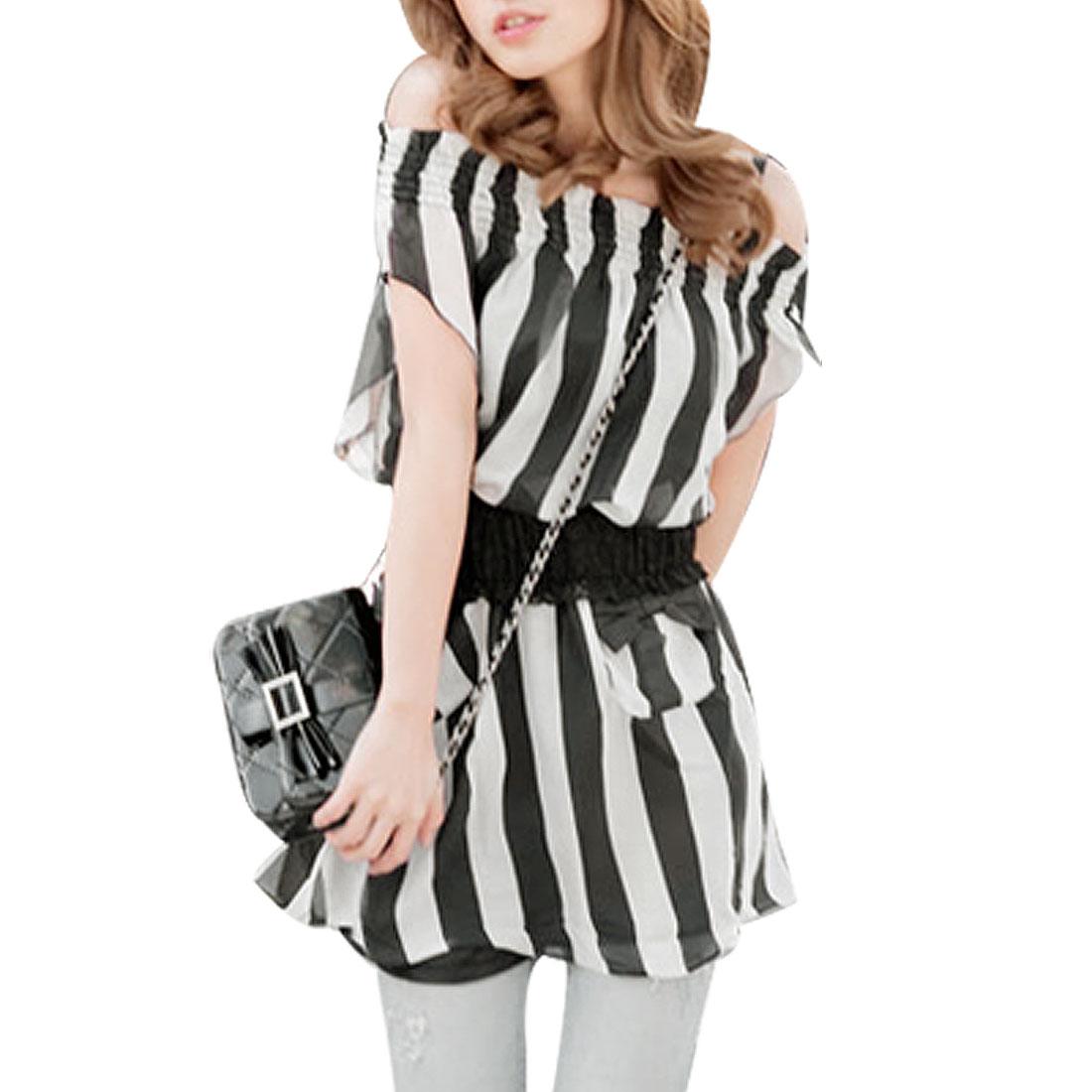 Ladies White Black Boat Neck Shirt Striped Chiffon Top XS