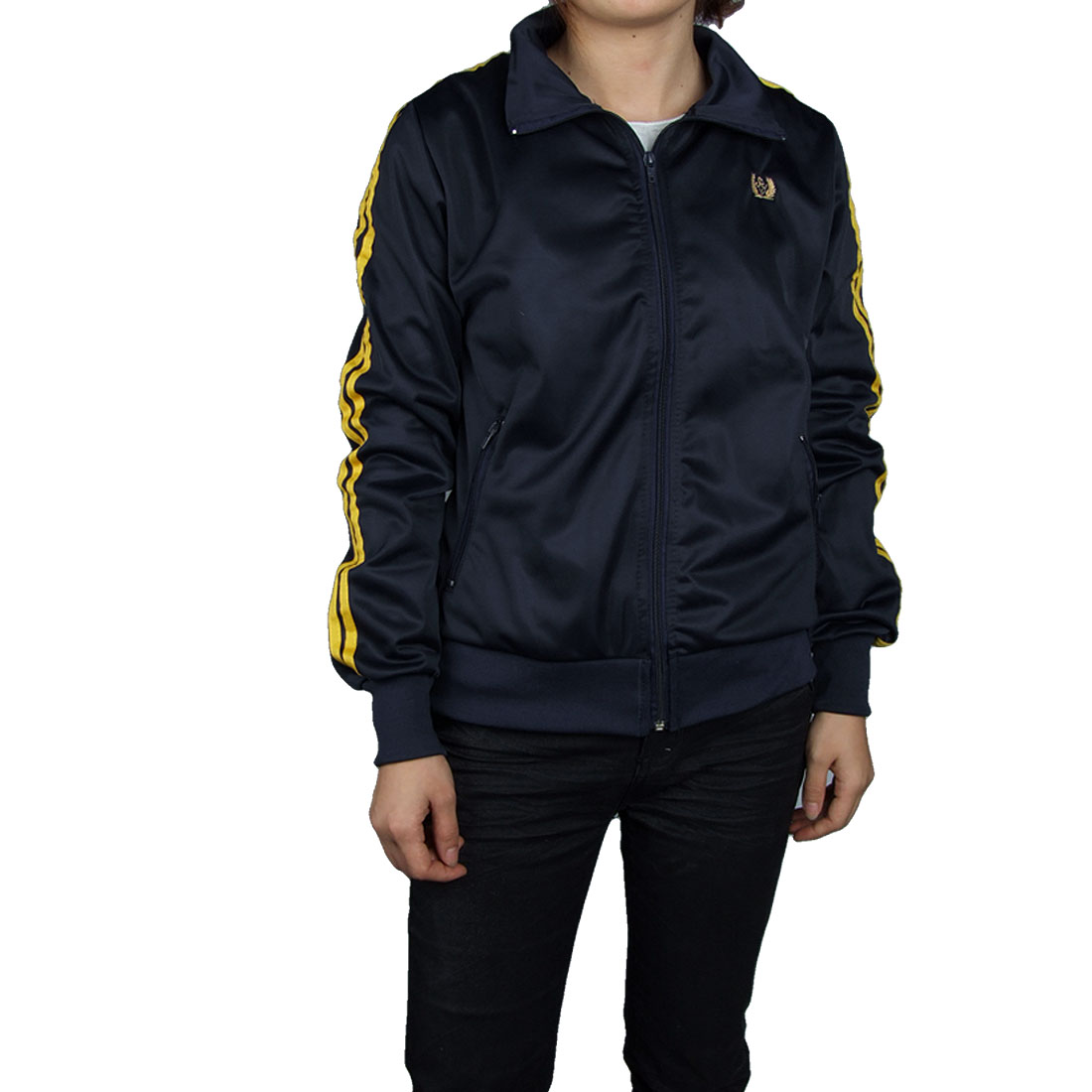 9181 Navy Blue Zip Up Sports Track Jacket Ladies Ribbed Cuff Top