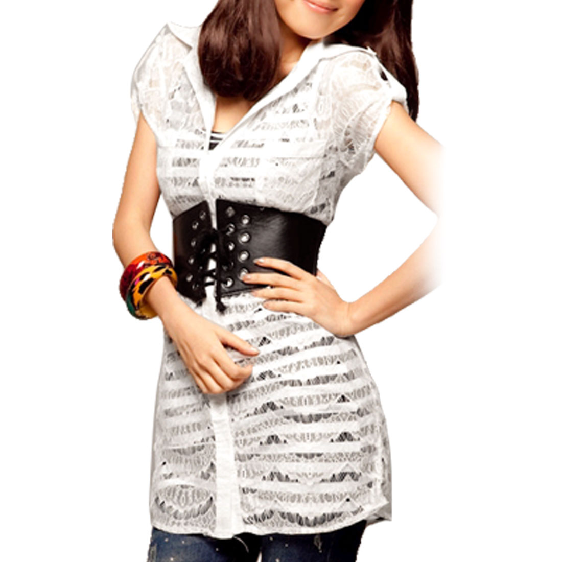 Lady White Short Sleeve Button-tab Epaulets Sheer Lace Shirt XS