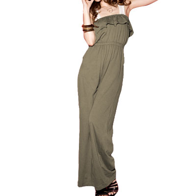 S Solid Army Green Ruffled Self Tie Jumpsuit for Ladies